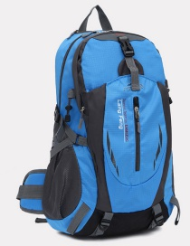 Fashion Blue Color Matching Decorated Simple Waterproof Backpack
