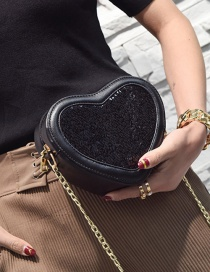 Fashion Black Pure Color Decorated Heart Shape Shoulder Bag