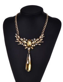 Fashion Champagne Diamond Decorated Water Drop Shape Pure Color Necklace