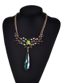 Fashion Plum Red Diamond Decorated Water Drop Shape Pure Color Necklace