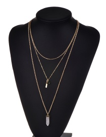 Fashion Gold Bullet Pendant Decorated Multi-layer Shape Simple Necklace