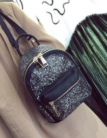 Fashion Silver Color Zipper&sequins Decorated Pure Color Simple Backpack