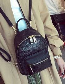 Fashion Black Zipper&sequins Decorated Pure Color Simple Backpack
