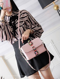 Fashion Pink Rivet Decorated Color Matching Simple Design Shoulder Bag