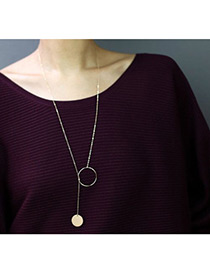 Elegant Gold Color Circular Ring Decorated Pure Color Simple Necklace