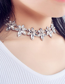 Fashion Silver Color Flower Decorated Pure Color Simple Choker