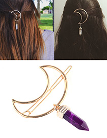 Sexy Purple Rhombus Shape Pendant Decorated Simple Hair Pin