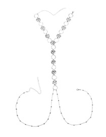 Sexy Silver Color Flower Decorated Hollow Out Design Body Chain