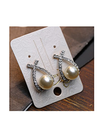 Fashion Silver Color Pearls&diamodn Decorated Bud Shape Simple Earrings