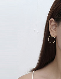 Elegant Gold Color Circular Ring Decorated Pure Color Simple Earrings