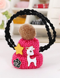 Fashion Plum-red Hat Shape Decorated Simple Double Layer Baby Hair Band