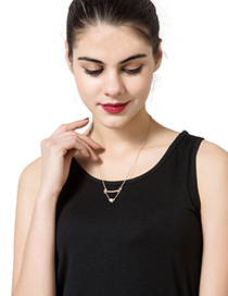 Trendy Rose Gold Pearl Decorated Chain Design Pure Color Necklace