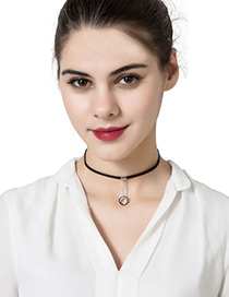 Trendy Black Circular Ring Decorated Pure Color Simple Necklace
