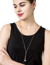 Fashion Rose Gold Diamond Decorated Pure Color Simple Necklace
