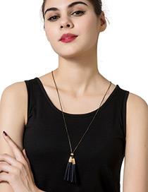 Fashion Gold Color Tassel Decorated Pure Color Simple Design Necklace