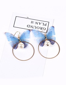 Trendy Blue Butterfly Shape Decorated Pure Color Simple Earrings