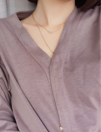 Fashion Gold Color Diamond Decorated Double Layer Simple Necklace