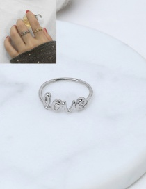 Elegant Silver Color Letter Love Decorated Pure Color Simple Ring