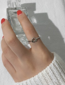 Elegant Silver Color Pure Color Decorated Cross Design Simple Ring