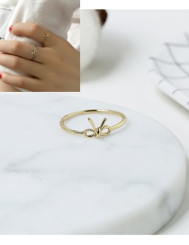 Elegant Gold Color Bowknow Decorated Pure Color Simple Ring