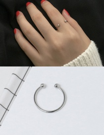 Elegant Silver Color Round Balls Decorated Pure Color Opening Ring