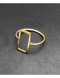 Elegant Gold Color Pure Color Decorated Square Shape Design Ring