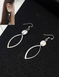 Elegant Silver Color Oval Shape Decorated Pure Color Simple Earrings