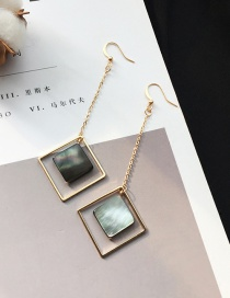 Elegant Gold Color Square Shape Gemstone Pendant Decorated Long Earrings