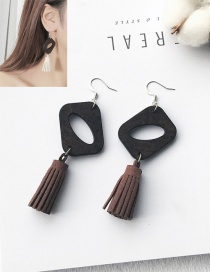 Elegant Brown Tassel Pendant Decorated Color Matching Earrings