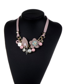 Fashion Pink Flower&pearl Decorated Color Matching Simple Necklace