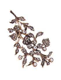 Vintage Gold Color Diamond Decorated Leaf Shape Design Pure Color Hair Clip