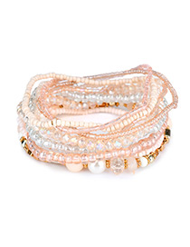 Fashion Khaki Bead Decorated Multi-layer Design Simple Bracelet