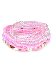 Fashion Pink Bead Decorated Multi-layer Design Simple Bracelet