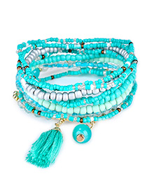 Fashion Lake Blue Bead&tassel Decorated Multi-layer Design Simple Bracelet