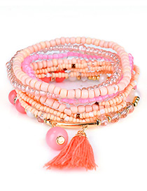 Fashion Orange Bead&tassel Decorated Multi-layer Design Simple Bracelet