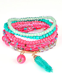 Fashion Multi-color Bead&tassel Decorated Multi-layer Design Simple Bracelet