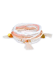 Fashion White Tassel&bead Decorated Multi-layer Design Color Matching Bracelet