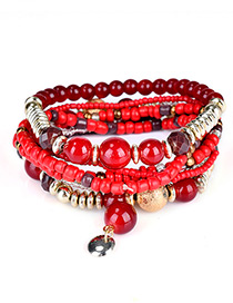 Fashion Red Bead Decorated Multi-layer Design Simple Bracelet