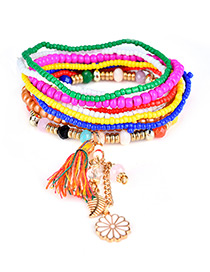 Fashion Multi-color Tassel&flower&leaf Decorated Multi-layer Design Simple Bracelet