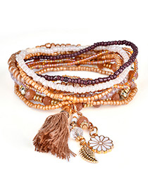 Fashion Brown Tassel&flower&leaf Decorated Multi-layer Design Simple Bracelet