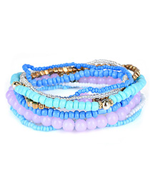 Fashion Blue Diamond&bead Decorated Multi-layer Design Simple Bracelet