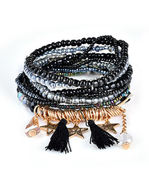 Fashion Black Tassel&star Decorated Multi-layer Design Simple Bracelet