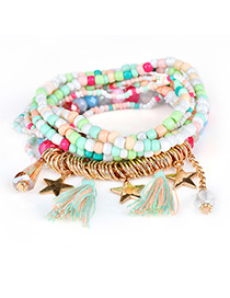 Fashion Multi-color Tassel&star Decorated Multi-layer Design Simple Bracelet