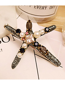 Fashion Black Starfish Shape Decorated Color Matching Simple Hair Clip
