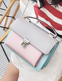 Fashion Gray Lock Shape Decorated Color Matching Simple Shoulder Bag