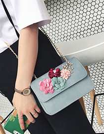 Fashion Blue Flower Decorated Color Matching Simple Design Shoulder Bag