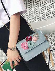 Fashion Blue Flower Decorated Color Matching Simple Design Shoulder Bag