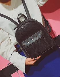 Fashion Black Sequins&rivet Decorated Pure Color Simple Backpack