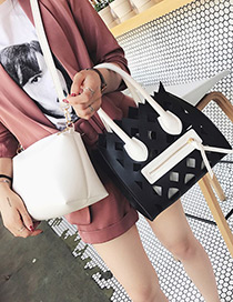 Fashion Black Zipper Decorate Pure Color Hollow Out Design Backpack