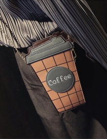 Fashion Gray Coffee Bottle Shape Decorated Pure Color Simple Shoulder Bag